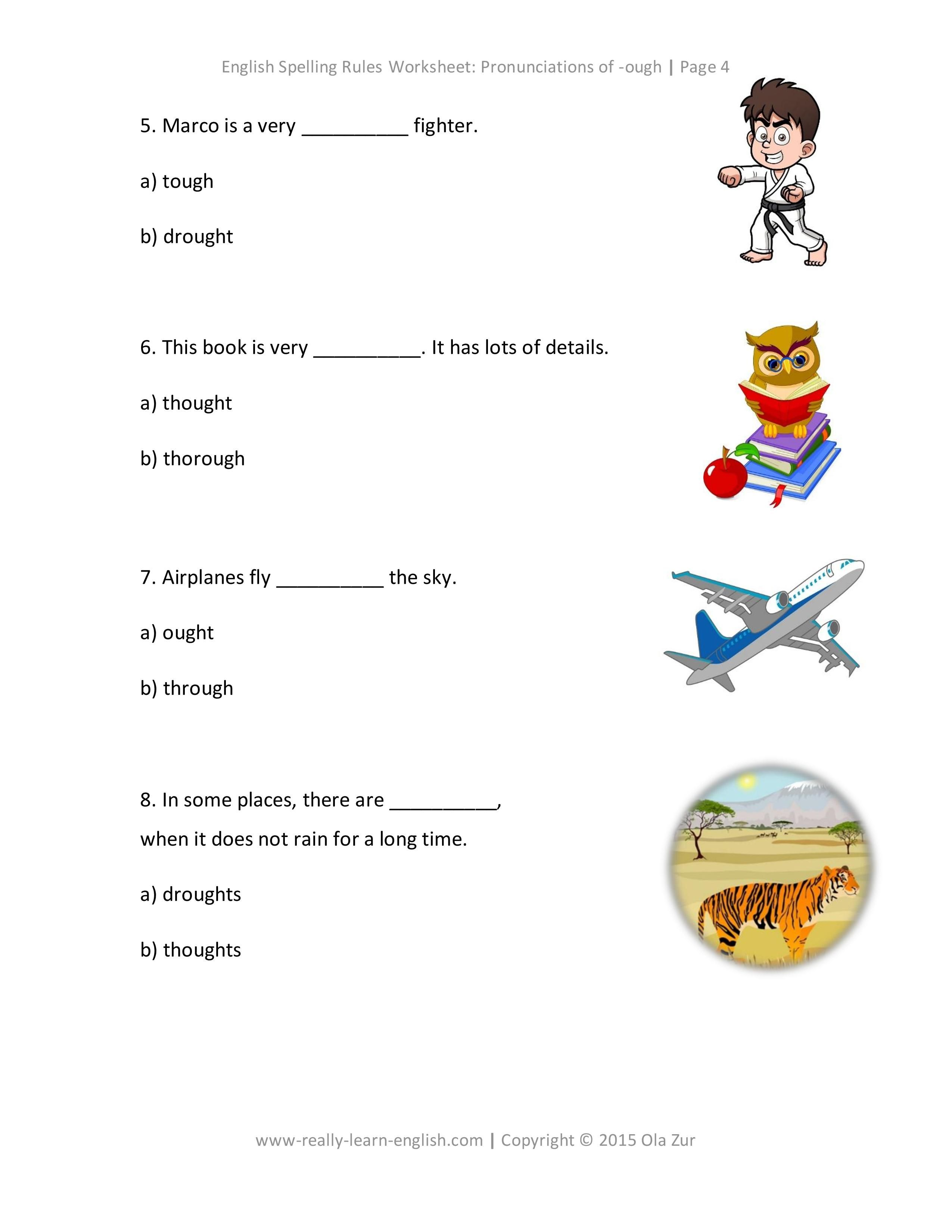 Look Free printable worksheets to practice the English ough – Esl Free Worksheets