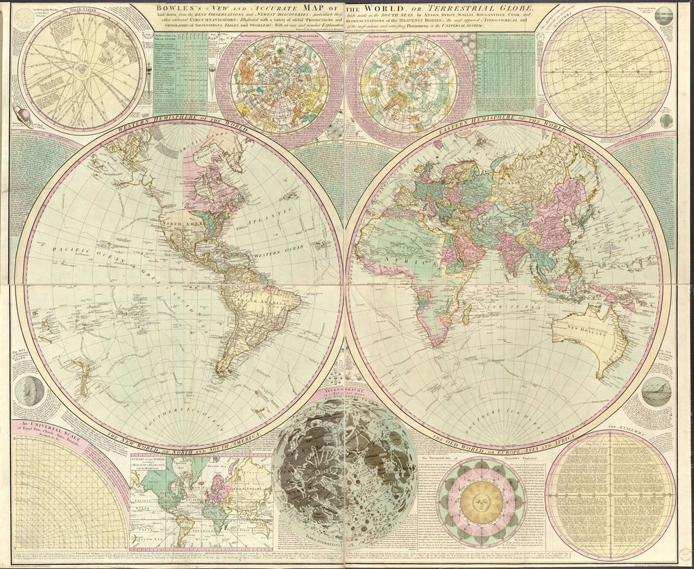 1780 antique world map by carington 24x20 america europe asia 1780 antique world map by carington 24x20 america europe gumiabroncs Gallery