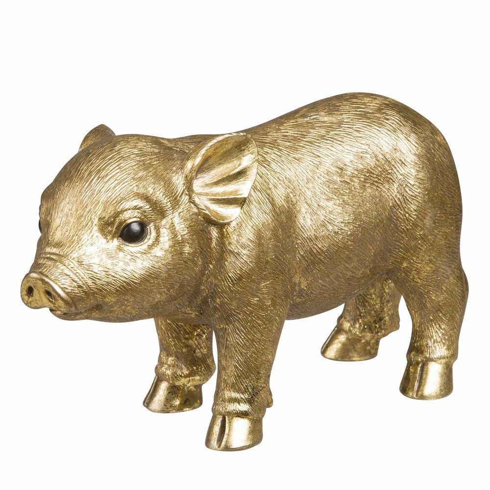 Statuette cochon dor e h12 maisons du monde ideas for Adornos navidenos la maison du monde