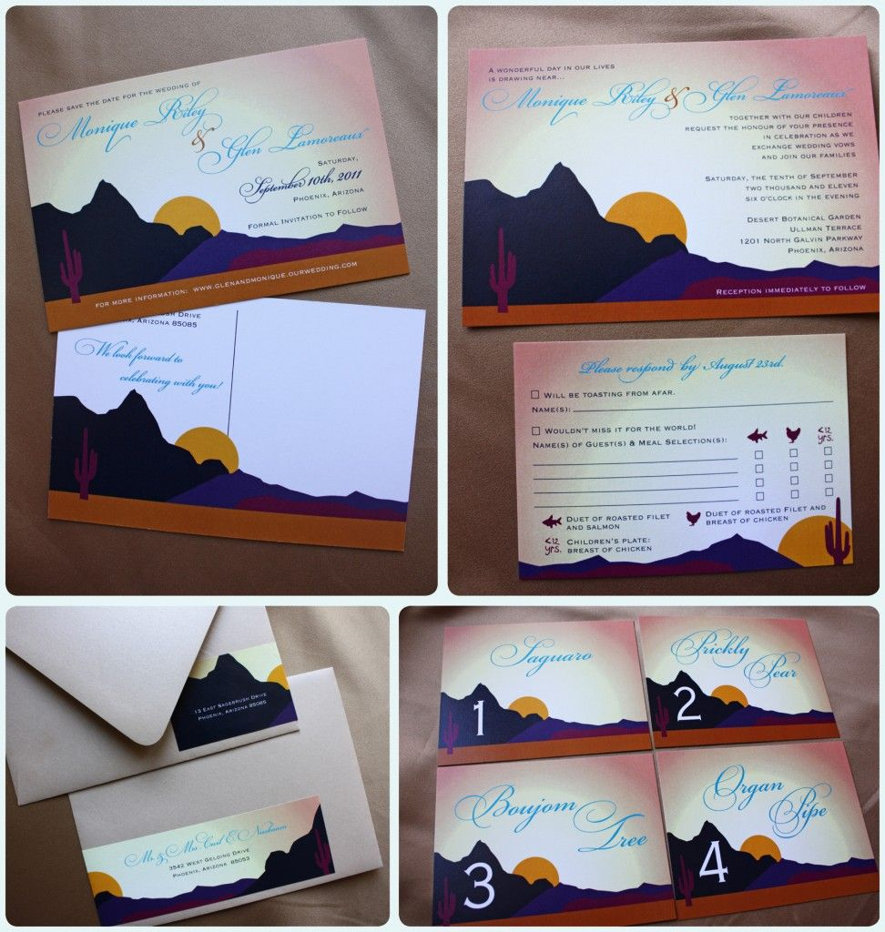 Arizona Desert Themed Wedding Save The Dates Invitations Address Label Wraps