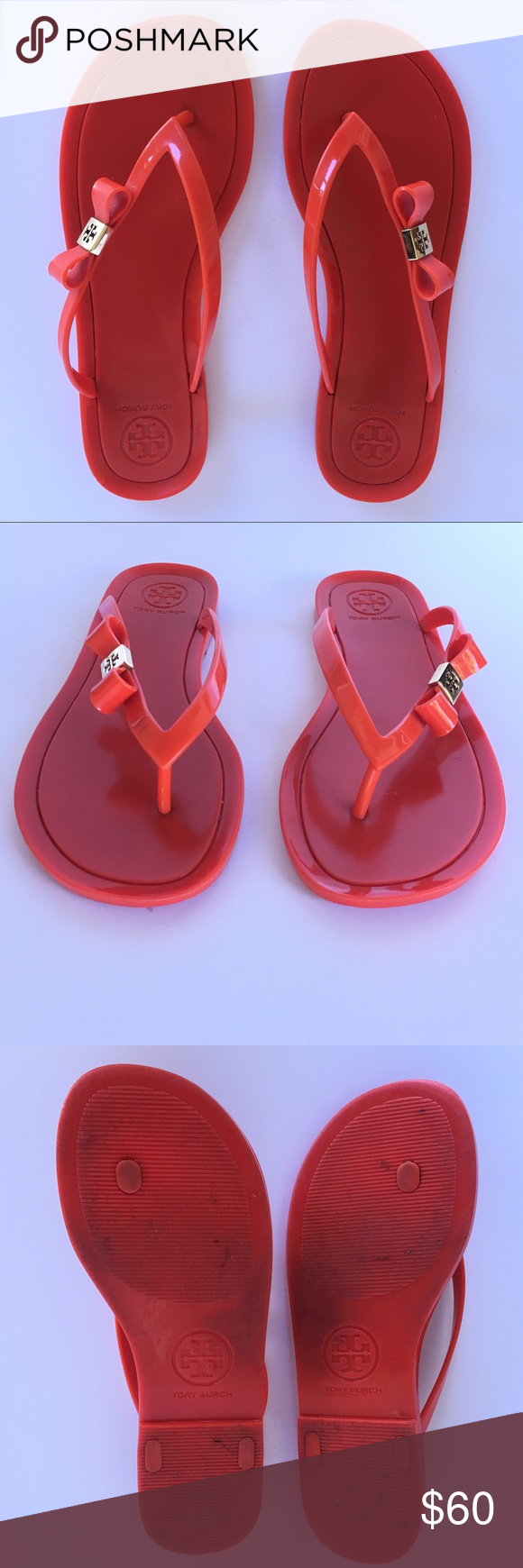 52482ee6d764 Tory Burch Jelly Sandals Chic Tory Burch glossy red-orange Michaela jelly  flip flops accented with bow   gold emblem. Women s size 8 (TTS).