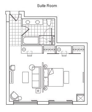 Typical hotel room floor plan hotel rooms and suites for Hotel design layout