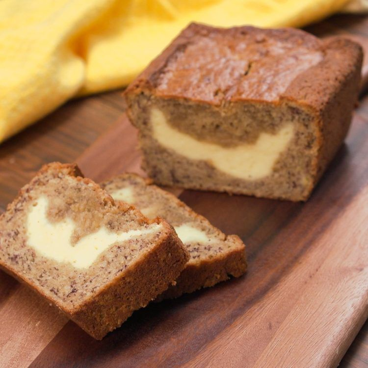The filling inside this banana bread is so good that you wont want cream cheese filled banana bread hero shot forumfinder Images