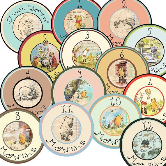 14 Classic Pooh Vintage Traditional Unisex Neutral Baby Monthly Milestone Onesie Stickers Newborn Shower Gift