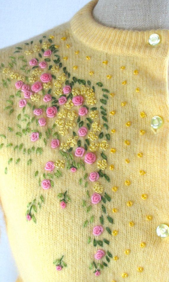 70de5be2ce3bb6 60s Angora Cardigan Sweater with by bigyellowtaxivintage on Etsy Wool  Embroidery