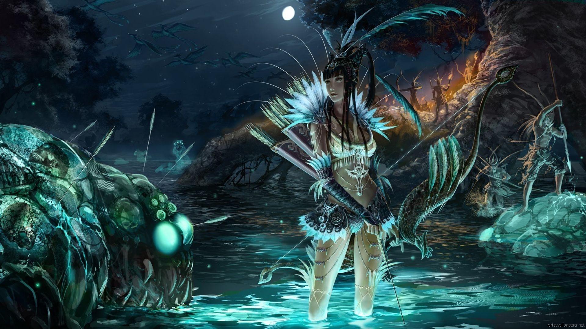Fantasy Archer Wallpaper Fantasie Hintergrund Fantasy Kunst