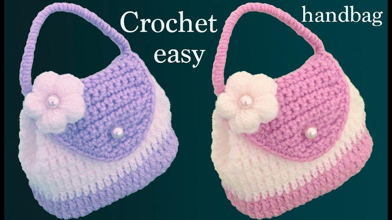 Bolso monedero a Crochet con flor punto 3D tejido