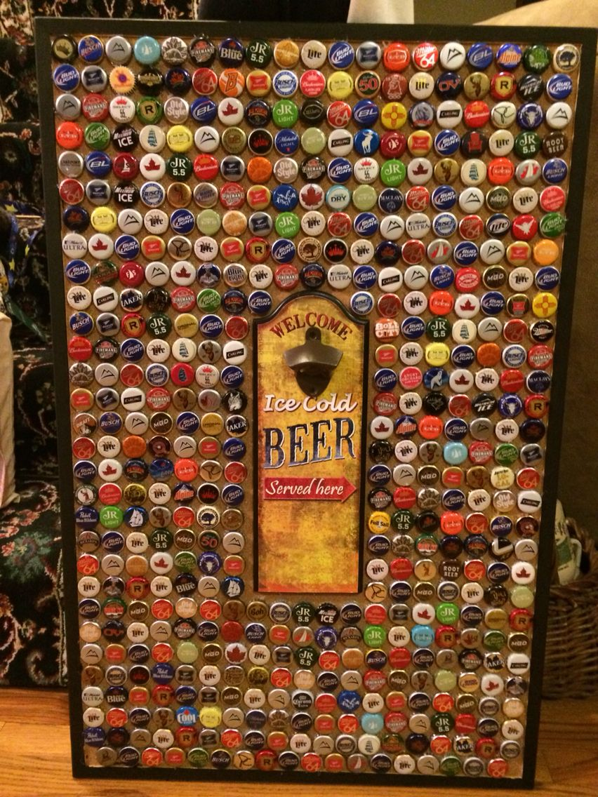 A Madelyn Original Beer Cap Collection Board For Display Made This For My Boyfriend He Absolutely Loved It Seems Beer Opener Sign Barn Wood Decor Beer Caps