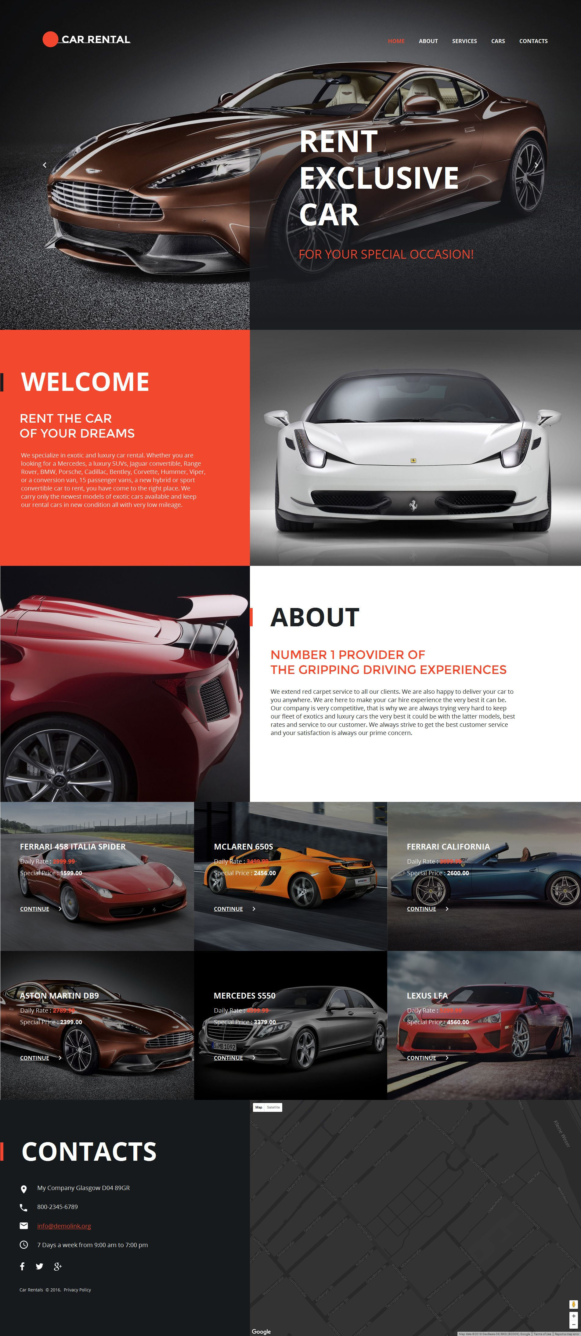 Car Rental Moto CMS HTML Template #58747