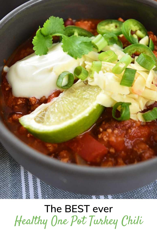 Healthy Easy One Pot Turkey Chili Hint Of Healthy In 2020 Easy Healthy Casseroles Healthy Chicken Dinner Healthy Chili Recipe Turkey