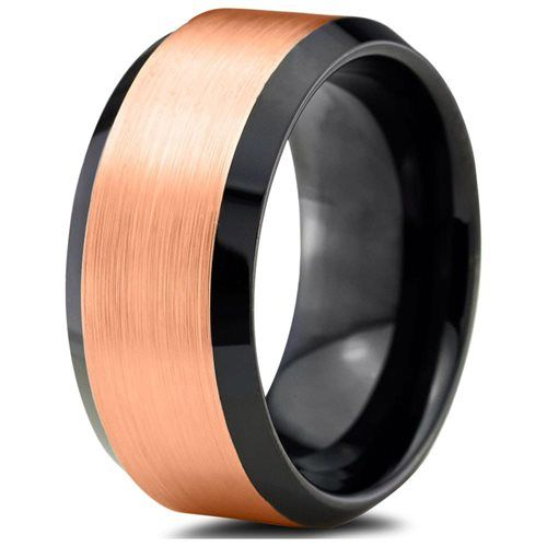Tungsten Wedding Band Ring 10mm For Men Women Black Amp 18k Rose Gold Beveled Edge Brushe Black Tungsten Rings Mens Wedding Bands Rose Gold Mens Wedding Band