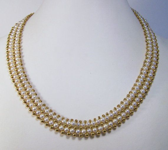 Vintage Napier Faux Pearl Bead Woven Necklace by GretelsTreasures