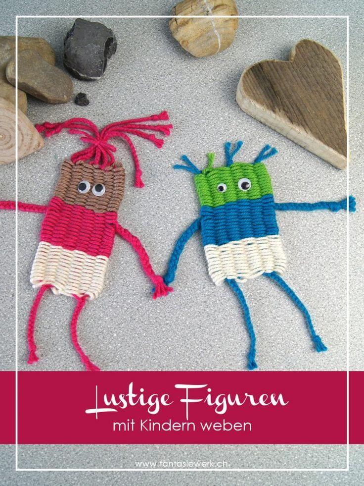 Lustige Figuren mit Kindern weben – mit Strohhalmen