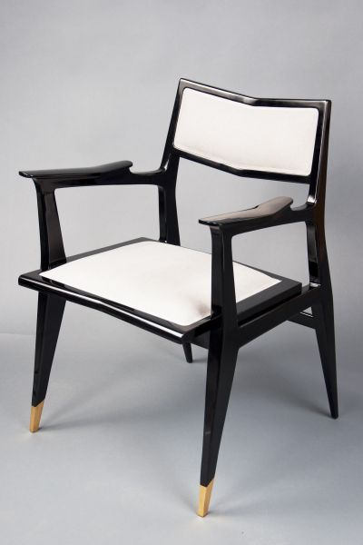 Raphaël Raffel; Lacquered Wood and Brass Armchair for Raphael, c1958.