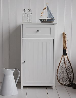White Floor Standing Bathroom Cabinet With Drawers From The White Lighthouse