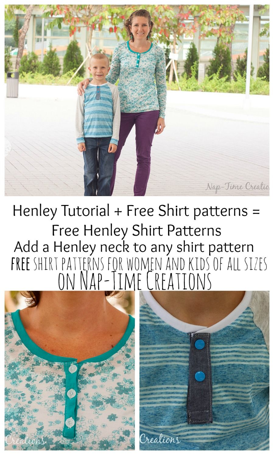 Free Henley Shirt Sewing Patterns for Women and kids from Nap-Time ...