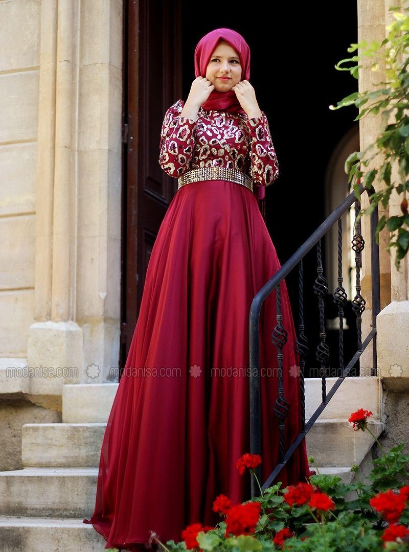 Zuhre Abiye Bordo Agonya Moda Evening Dresses Best Evening Dresses Muslim Evening Dresses