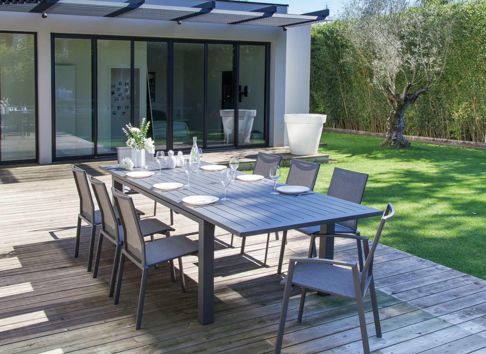 Table de jardin Elisa 180/240 cm (Finition Epoxy) - Proloisirs ...