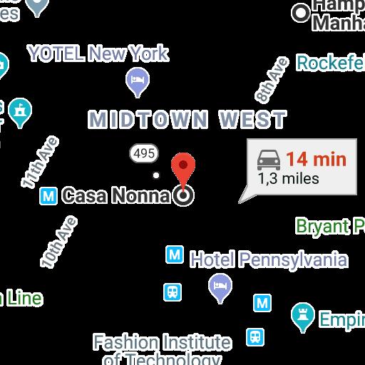 Google Maps Manhattan Times Square Hotel Pennsylvania Map