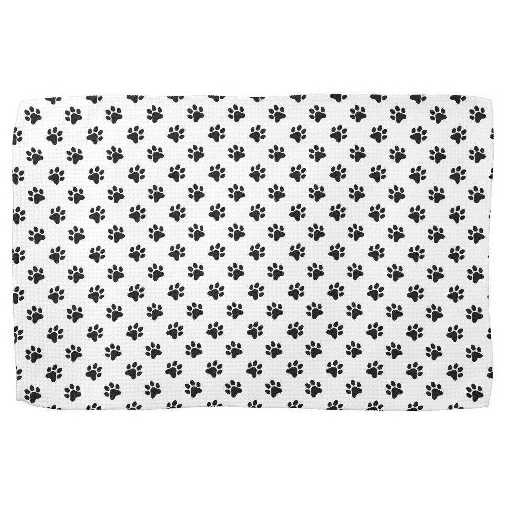 Dog Paw Prints Black And White Kitchen Towel Dog Paws White
