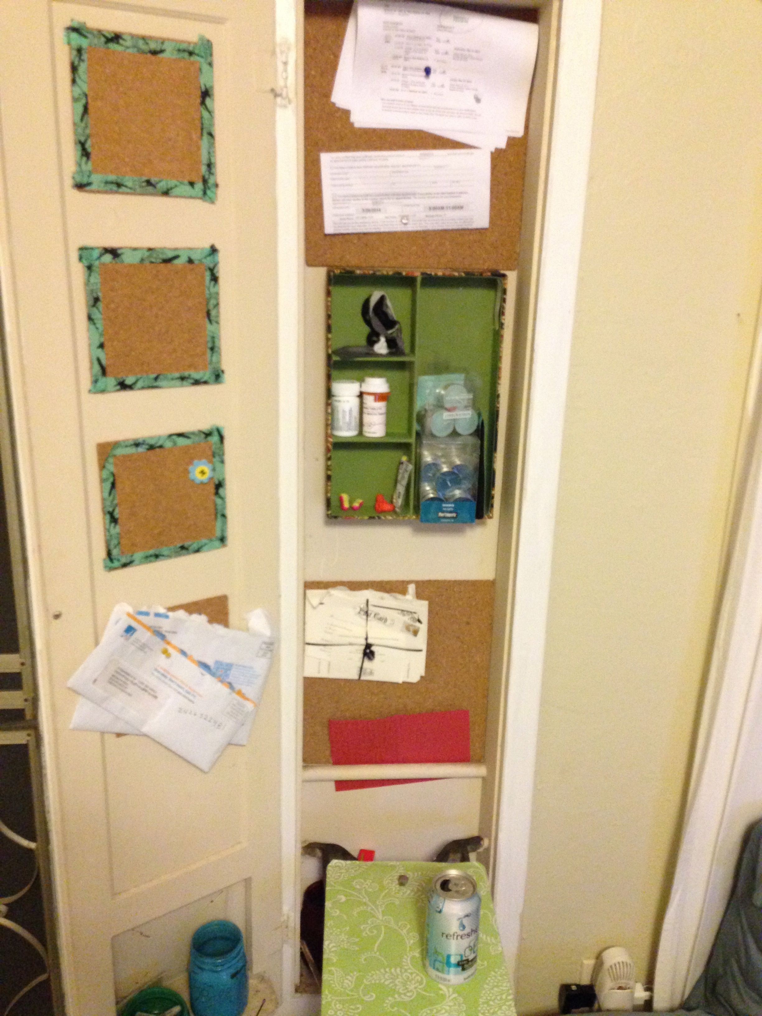 An old ironing board cabinet into a storage cabinet. I posted cork ...