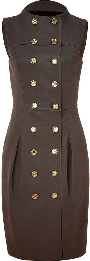 Burberry London Dark Canvas Green Double-Breasted Dress