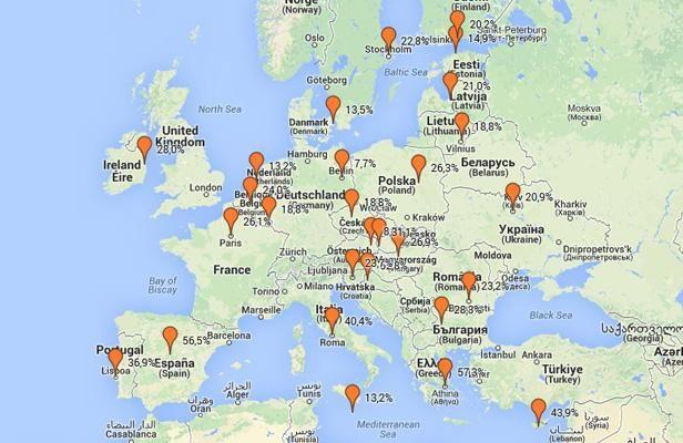 Europe La Carte Du Chomage Des Jeunes Carte Cartes Union Europeenne