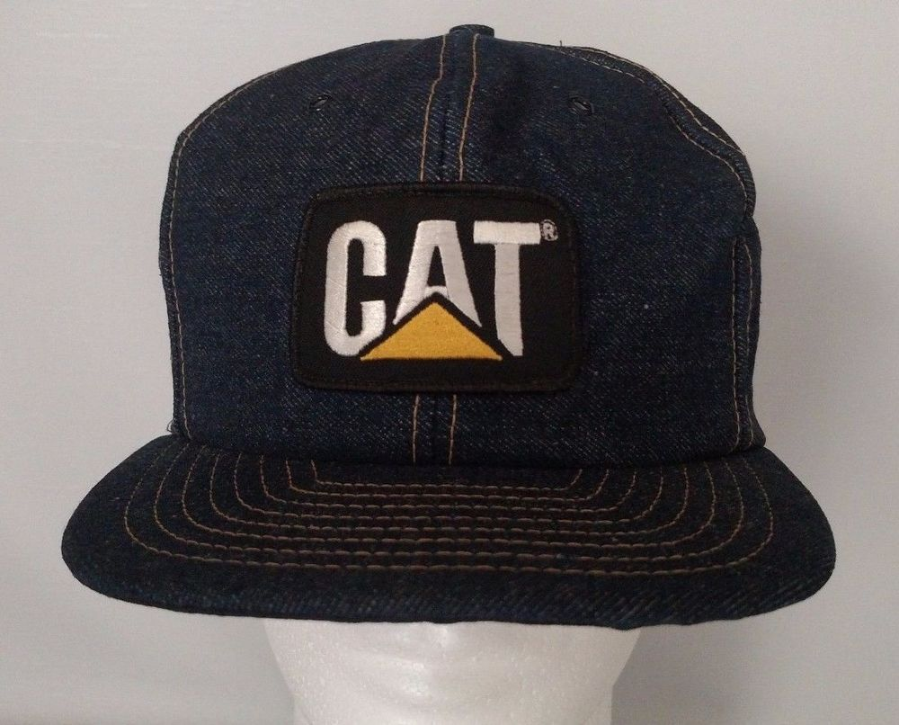 8008f92648177 CAT Caterpillar Equipment Patch Logo Snapback Hat Cap One Size Denim  Vintage  CAT  BaseballCap