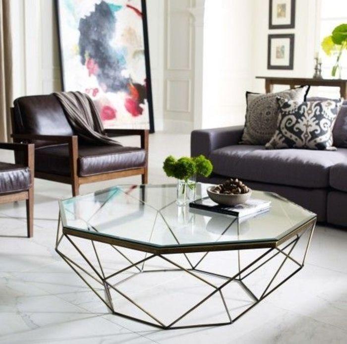 table de salon moderne meubles en verre