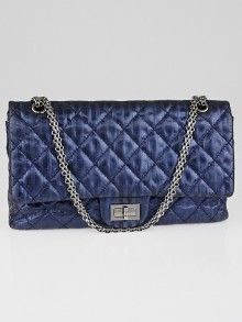 404d58ee6f02a7 Chanel Navy Blue Striped Metallic 2.55 Reissue Quilted Classic Calfskin  Leather 227 Jumbo Flap Bag