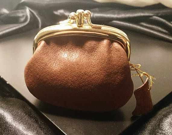 1ac25bd749 Small tan leather coin purse gold tone kiss lock clasp