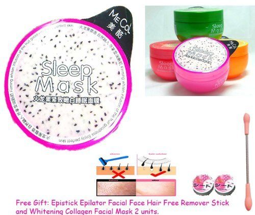 1 Unit. X Mecol Dragon Fruit Firming Deep Moisturizing Whitening Disposable Sleep Serum Mask - 7 Days Shining! Q10 Collagen Extra + L- Glutathione + Aloe Vera + AHA From Fruit. Super Brightens + Whitening After Wake up for Face & Body 150g. (Free Gift: Epistick Epilator Facial Face Hair Free Remover Stick and Whitening Collagen Facial Mask 2 Units.) by Mecol. $23.72. mask 7 hours before go to bed and Look whitening after wake up /Result within 7Days. Reduce-freckles...