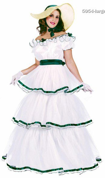 Adult White Southern Belle Costume Product Description Adult Halloween Outfits - This Personal Southern Belle gown includes the Municipal War era Lower Belle costume #dressesfromthesouthernbelleera