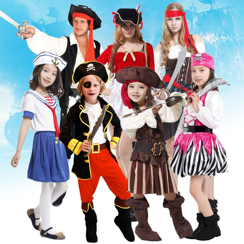 Free shipping pirate captain clothing cosplay suit adult men and