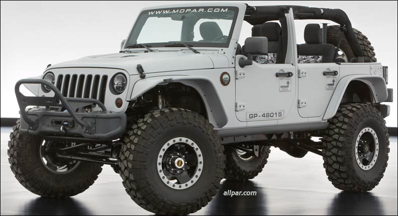 The Jeep Wrangler Mopar Recon features a gray exterior and a little extra firepower with a 6.4-liter HEMI V-8 crate engine from Mopar. The 470 horsepower engine is mated to a five-speed automatic transmission and Dana 60 front and rear axles with 4.10 gearing. The axles are suspended by a 4.5-inch prototype long-arm lift kit and roll on Jeep Performance Parts prototype forged eight-lug beadlock wheels with 39-inch off-road tires