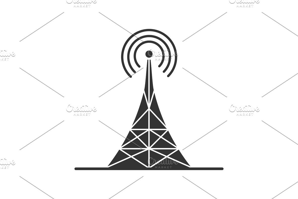 Radio Tower Linear Icon Initials Logo Design Outline Drawings Line Illustration