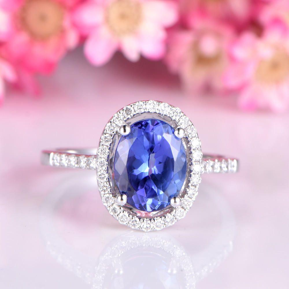 Tanzanite ring 6x8mm oval cut tanzanite engagement ring diamond ...