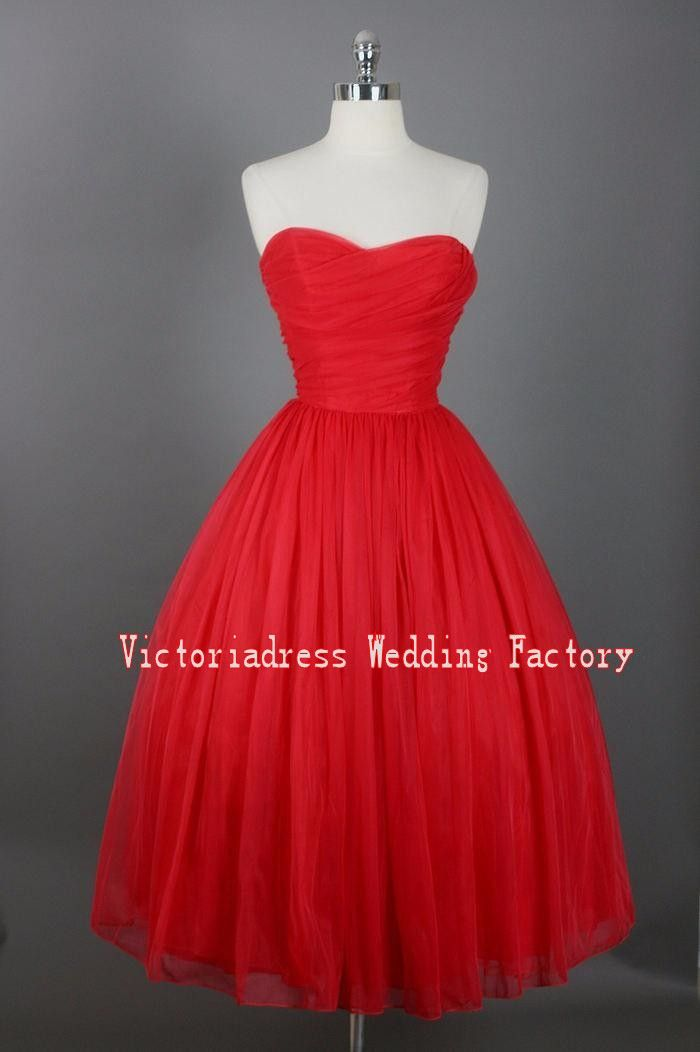 79faa43c366 Click to Buy    Vintage 1950 s Style Ball Gown Homecoming Dresses 2017 Real  Image Sweetheart Tulle Tea Length Short Prom Dress Graduation Gowns   Affiliate