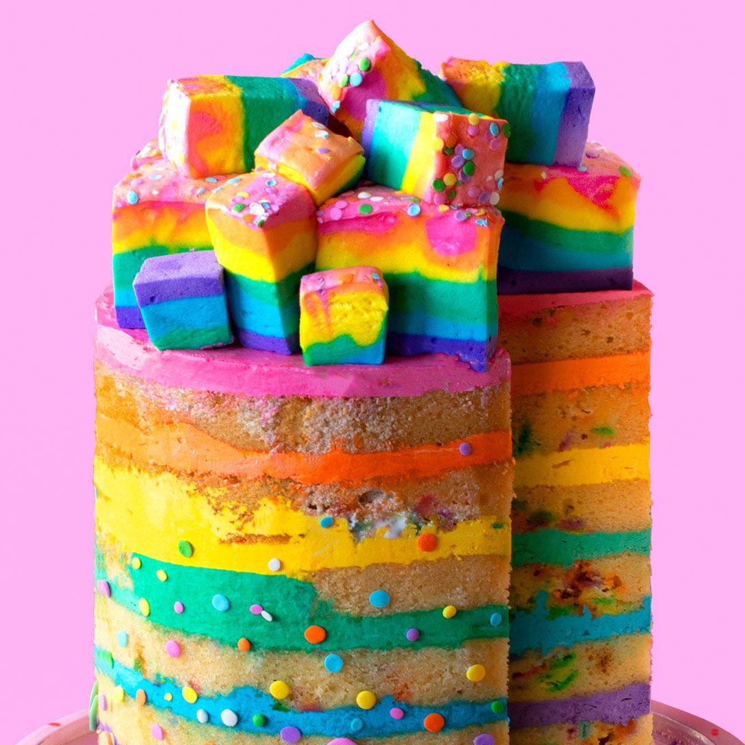 Rainbow Marshmallow Cake #marshmallows