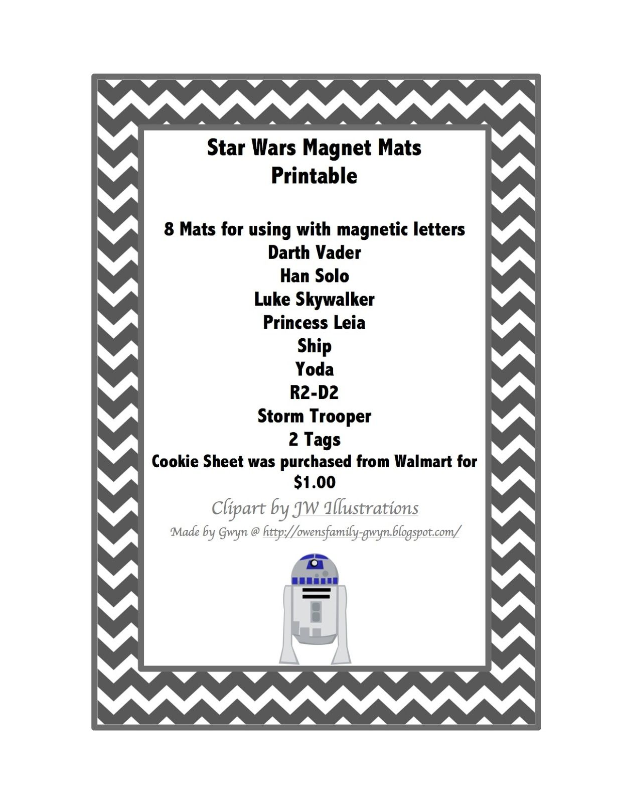 Star Wars Mats To Use With Magnetic Letters