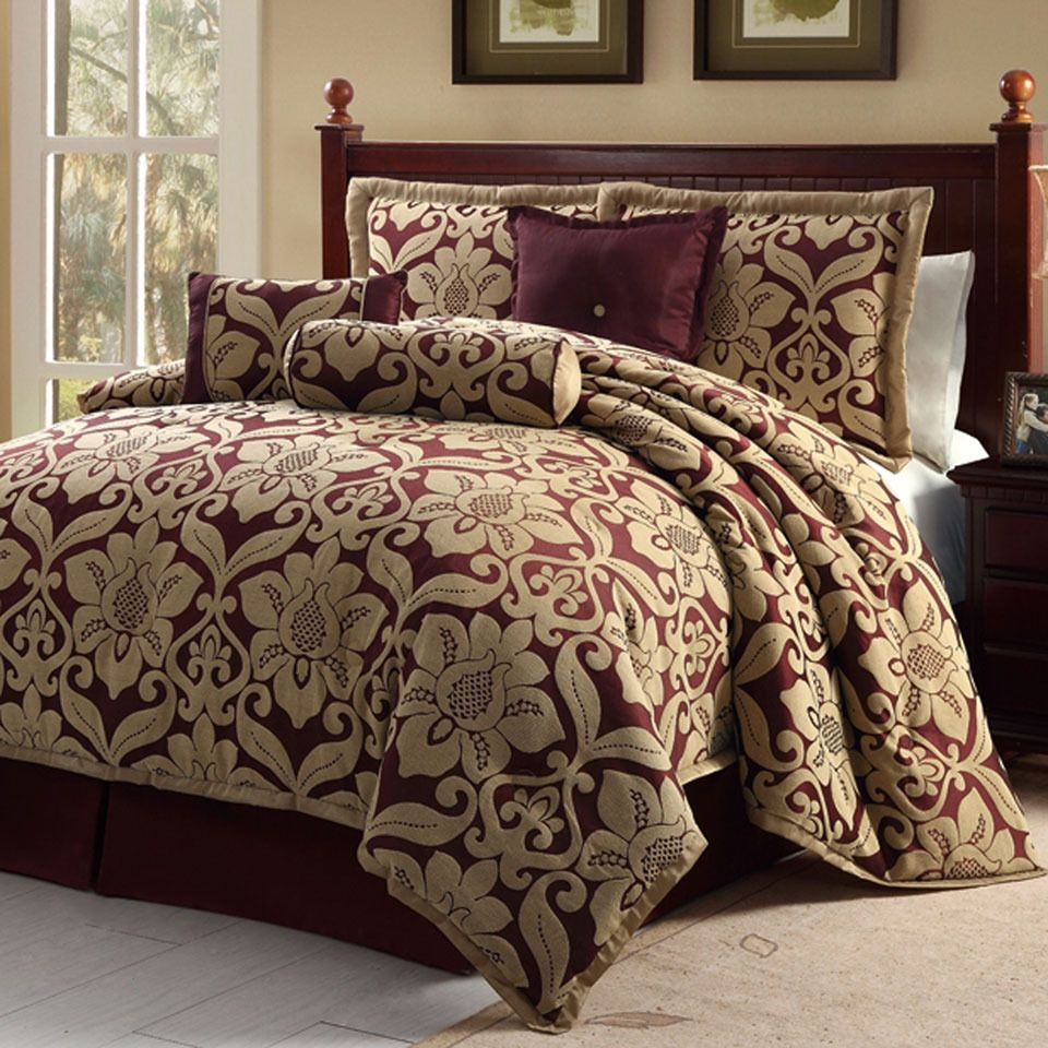 home com pinch amazon dp kitchen comforter pleat sets set king avondale queen red piece manor venice