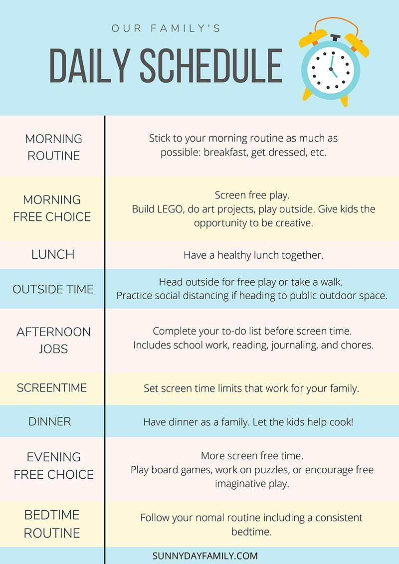 A Realistic Schedule For Kids At Home During A Shutdown Free Printable Guide For Moms Kids Schedule Kids Summer Schedule Business For Kids