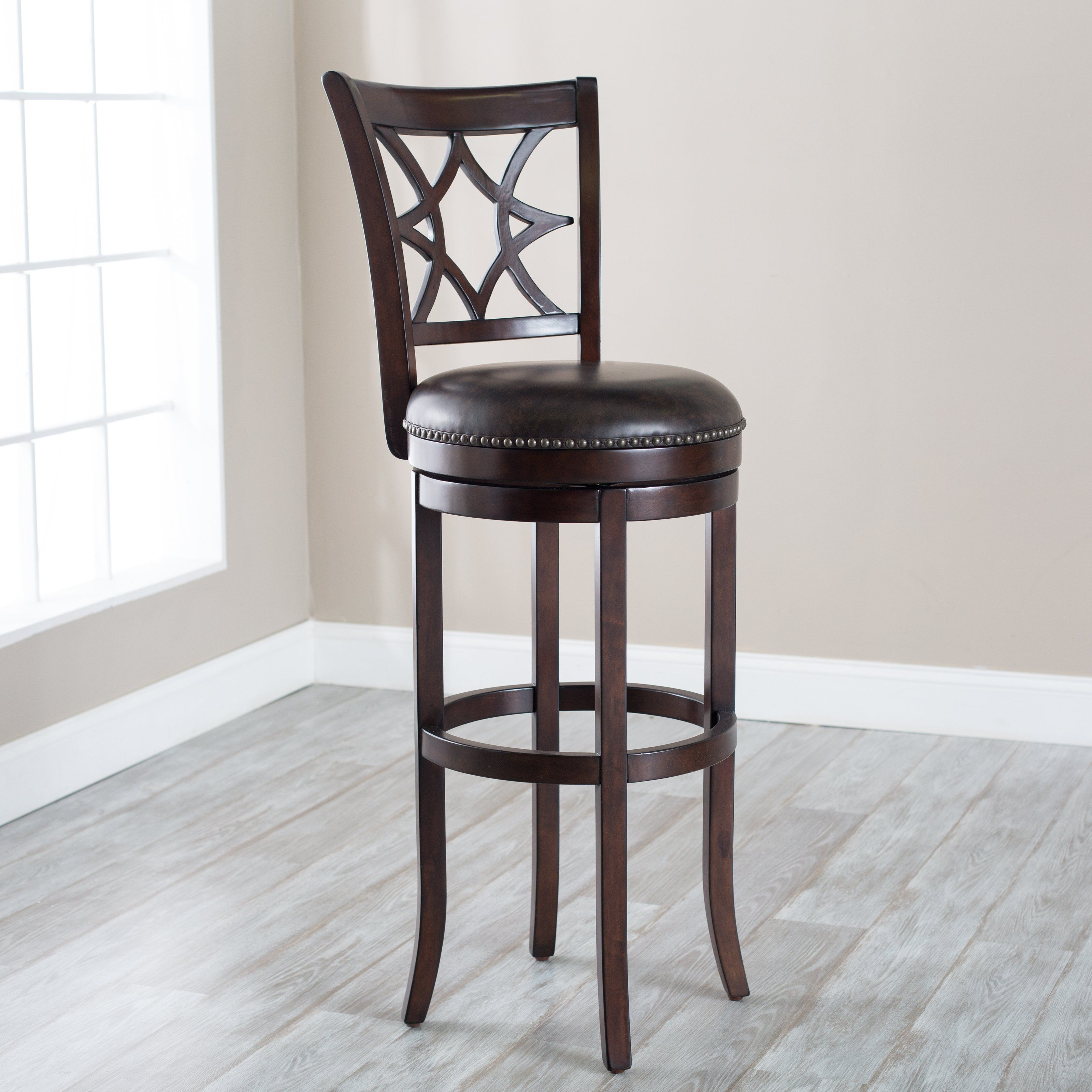 Fine Furniture Rounded Black Leather Upholstered Bar Stool With Machost Co Dining Chair Design Ideas Machostcouk