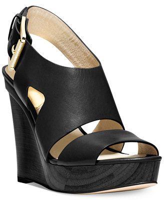 75aebc1202e MICHAEL Michael Kors Carla Platform Wedge Sandals leather black ...