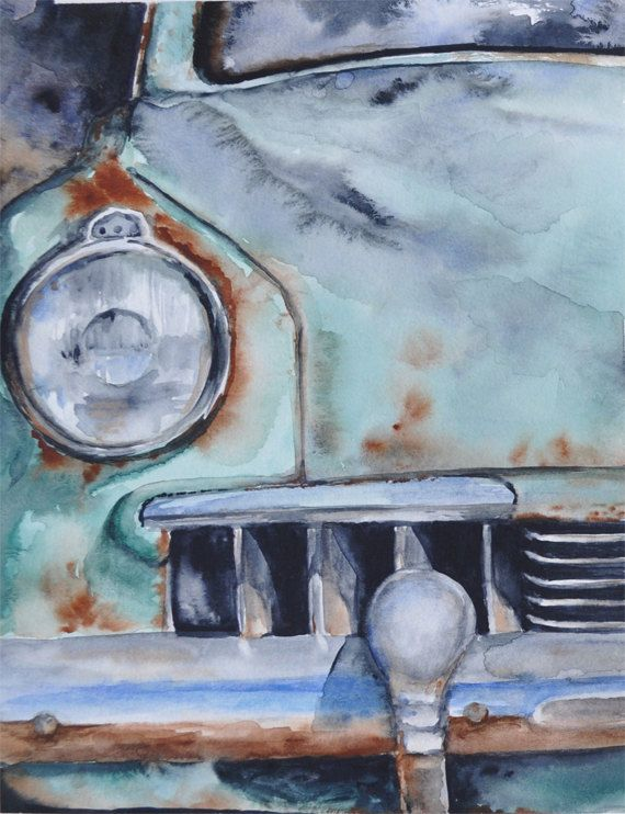 Studebaker Watercolor Painting Old Rusty By Heartifactsgallery