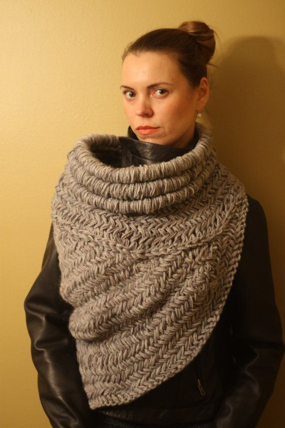 Katniss inspired cowl vest scarf armor, knit, huntress cowl in the ...