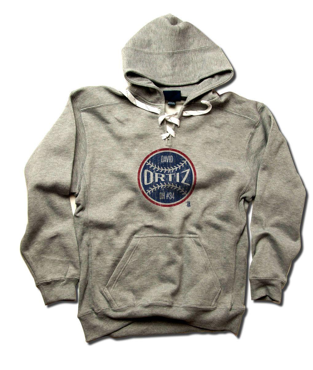David Ortiz MLBPA Officially Licensed Boston Men's LACE Hoodie S-3XL David Ortiz Ball B