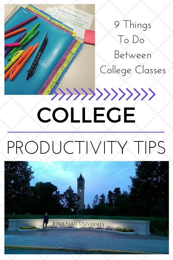 Here are 9 things you could be doing between your college classes! Stay productive throughout your day and enjoy the little wonders of your campus. Click to read more or pin to read later :) Find my blog at www.hayleolson.com