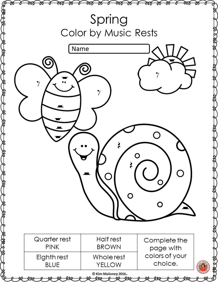Spring Music Coloring Sheets: 26 Color by Music Notes and