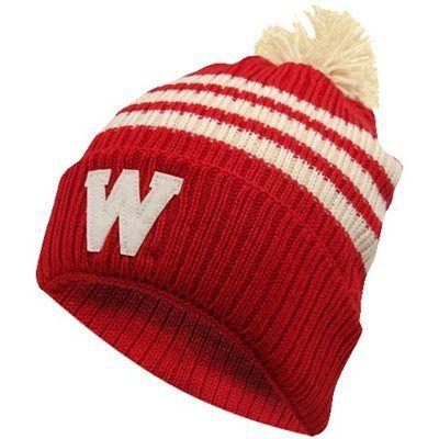 97fff6e72da adidas Wisconsin Badgers Cuffed Knit Pompom Hat - Cardinal